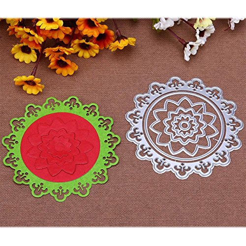 Flor Crculo Redondo Armaes De Metal Corte Morre Estncil Para DIY Scrapbooking lbum de fotos Em Relevo Cartes de Papel Artesanato Decorativo