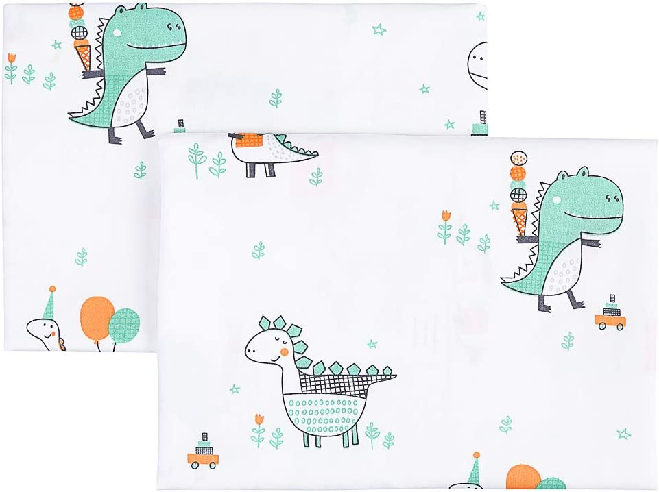 Happy Dinosaurs 13x18 Small Pillow IBraFashion Kids Toddler Pillowcases 100/% Soft Percale Cotton Sateen Weave 14x19 2 Packs Fits Kid Toddler Bedding Pillow 14x19