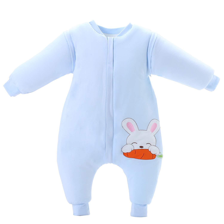 Saco de dormir para bebé de invierno de algodón grueso con forro cálido saco de dormir para niños antipolillas de 3,5 tog Talla:L(Body size:35.5-39.5 in): ...
