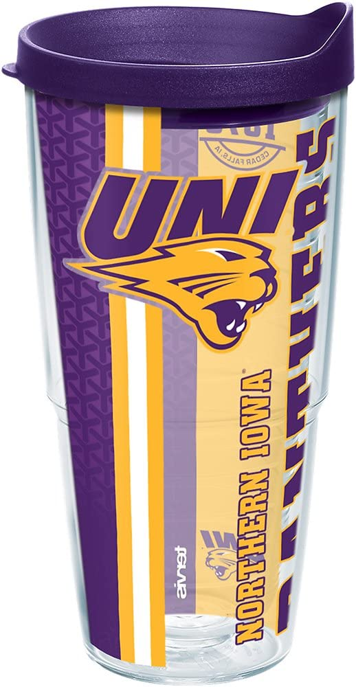 Tervis Northern Iowa Panthers College Pride Tumbler with Wrap and Royal Purple Lid 24oz, Clear