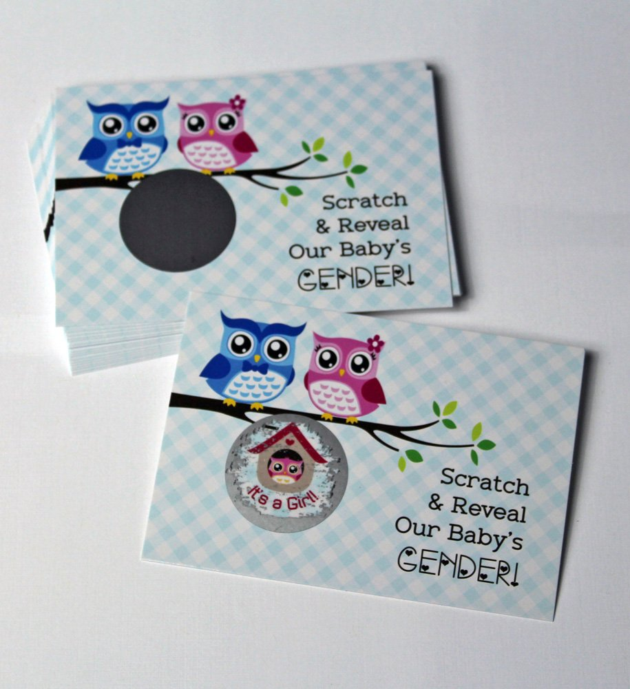 """Gender Reveal Scratch off Cards, Reveal The Sex of your Baby, """"Boy or Girl"""",""""Pink or Blue"""" Baby Shower Scratch-off gender announcement, Owl Postcards~ Qty 25 (Pink~ Girl) My Scratch Offs"""