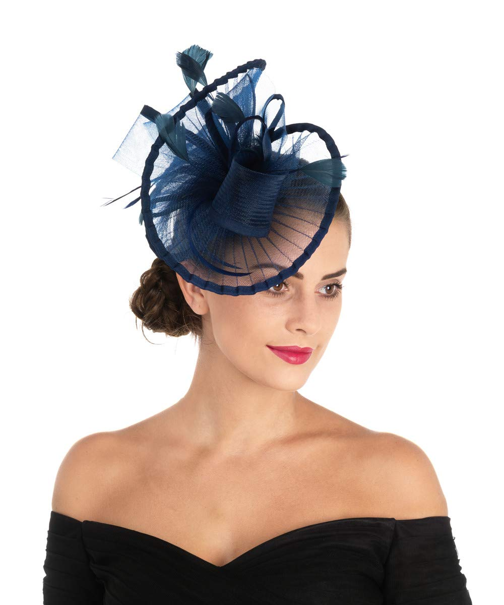 Lucky Leaf Women Girl Fascinators Hair Clip Hairpin Hat Feather Cocktail Wedding Tea Party Hat (2-Navy)