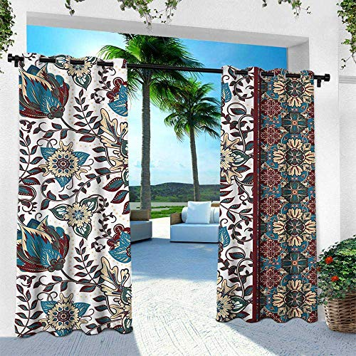 - Arabesque, for Patio Light Block Heat Out Water Proof Drape,Ornamental Floral Pattern and Border Traditional Middle Eastern Artwork, W96 x L84 Inch, Petrol Blue Burgundy