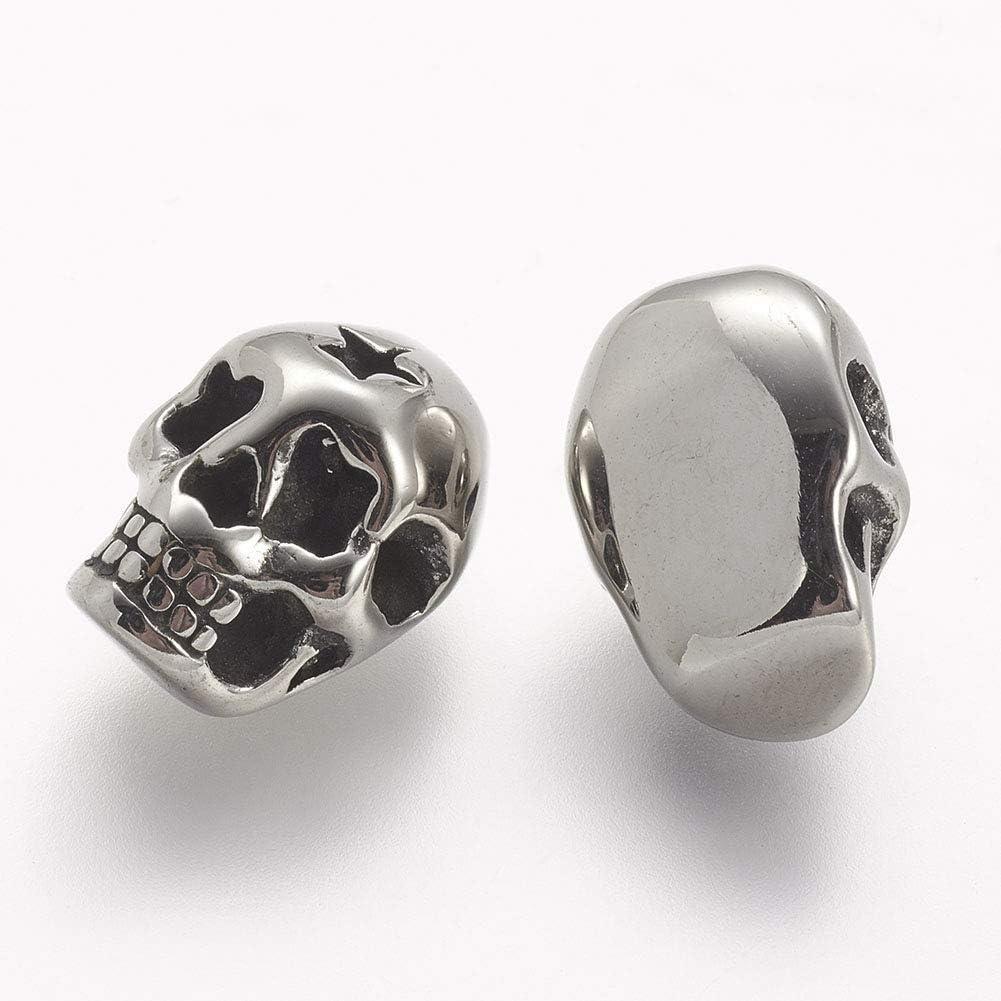 UNICRAFTALE 10 St/ück Edelstahl Sch/ädel-Perlen Antik Silber Farbe Feste Spacer Beads Charm Perlen f/ür die Schmuckherstellung Armb/änder Halsketten