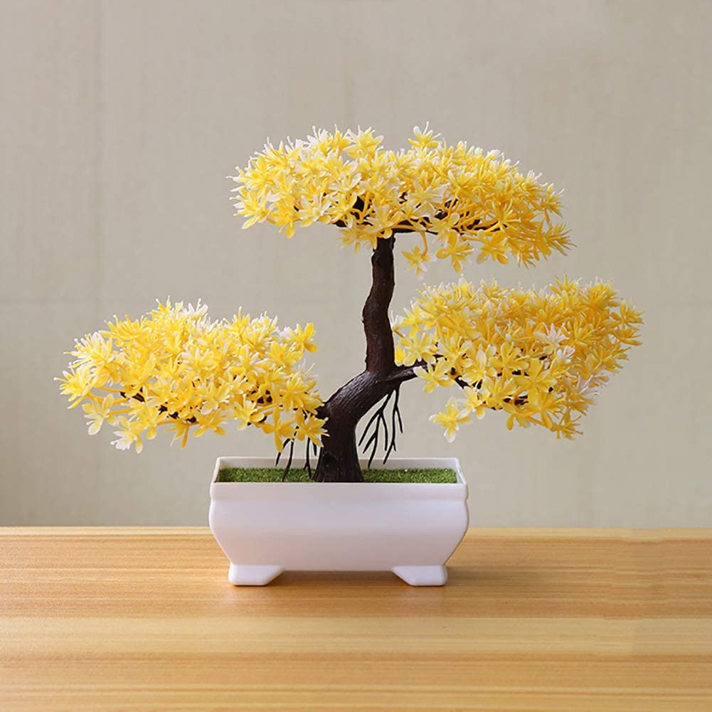 LPxdywlk Yingbin Pine Bonsai Simulation Plant Potted Home Decoration Adornos Amarillo