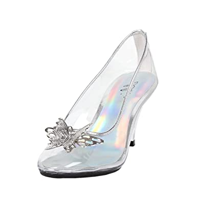 de24e1e51ef Womens Butterfly High Heels Clear Pumps Silver Trim Costume Shoes 3 Inch  Heels Size  6