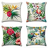 Pillow Cover,Migavenn Pillow Covers Decorative Linen Tropical Plant Style Throw Pillow Case Cushion Cover for Hotel Home Office Sofa Bedding Throw Pillowcase Set 4pcs