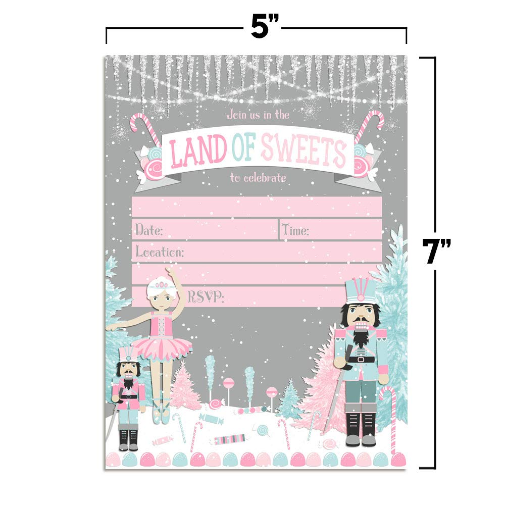 20 5x7 Fill in Cards with Twenty White Envelopes by AmandaCreation Nutcracker Land of Sweets Themed Holiday Christmas Birthday Party Invitations