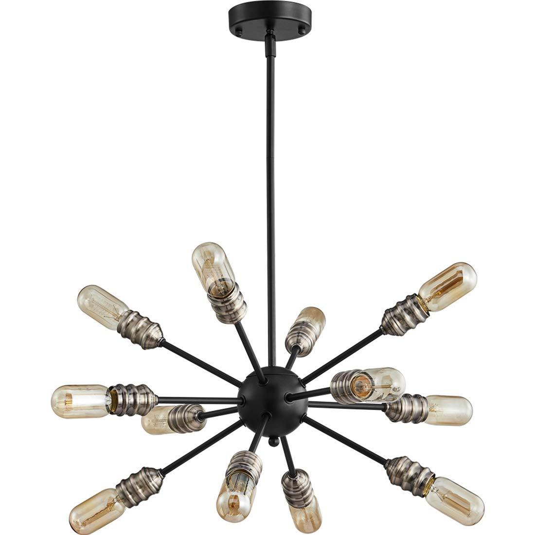 TZOE SputnikChandelier Mid Century Modern Pendant 12 Light Rustic Ceiling Light Bronze and Black LivingRoomLighting DiningRoomLights UL Listed