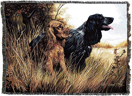 Pure Country Weavers - Cocker Spaniel Woven Tapestry Throw Blanket with Fringe Cotton USA Size 72 x 54