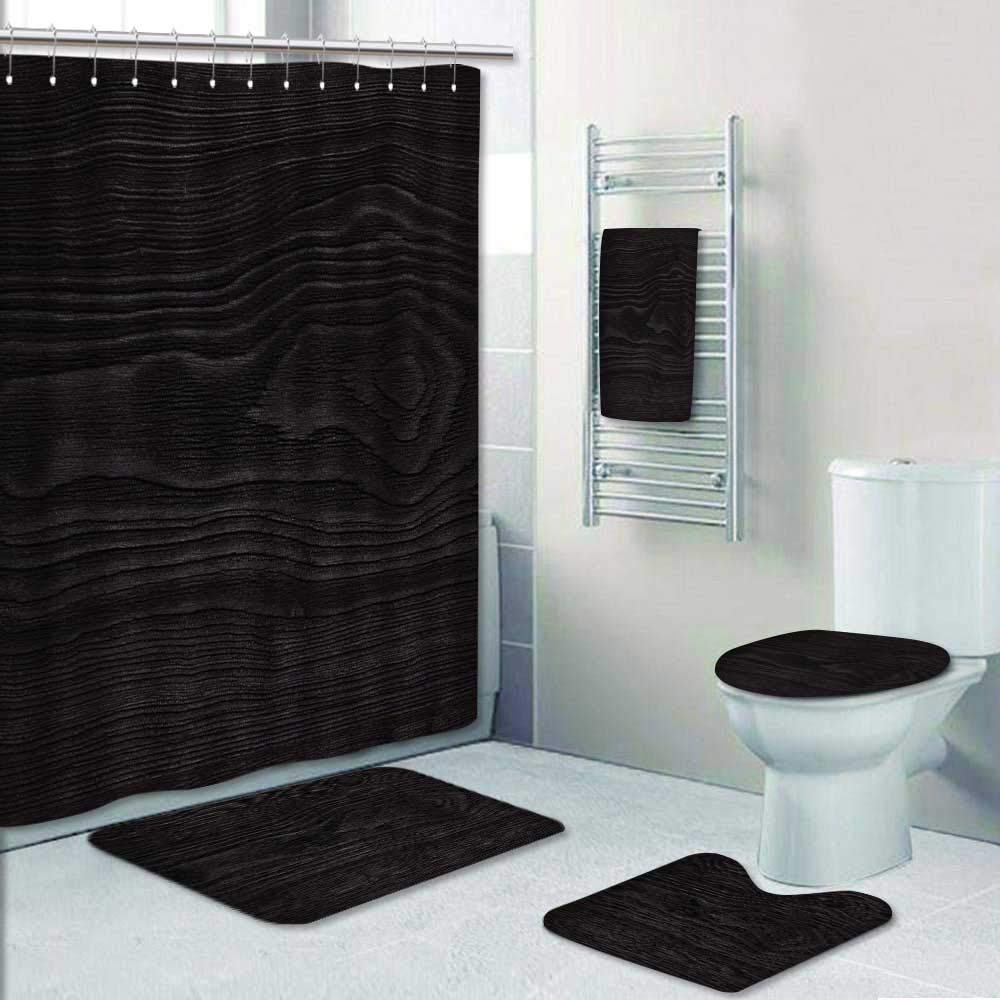 Philip-home 5 Piece Banded Shower Curtain Set Very Dark Wood Texture Close up Decorate The Bath