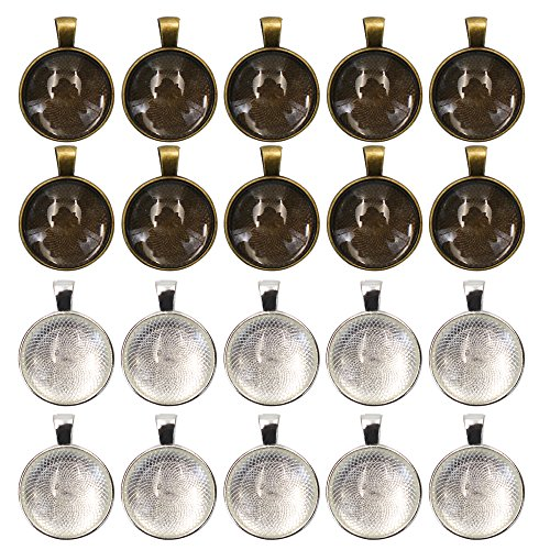 MoMaek 20 Sets Pendant Bezel Silver Plated Round Trays with 25 mm Round Glass Cabochon Dome Tiles Clear ()