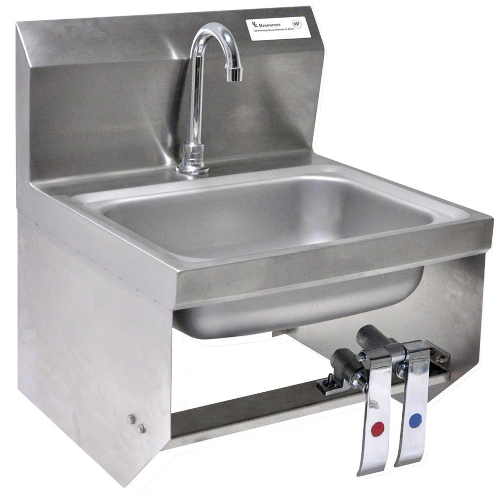 BK Resources Wall Mounted Stainless Steel Hand Sink with 3.5'' Gooseneck Faucet and Knee Valves, 14'' x 10'' Bowl Size