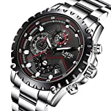 Affute Mens Sport Fashion Chronograph Analog Quartz Wrist Watches Date Stainless Steel Band,Silver Black