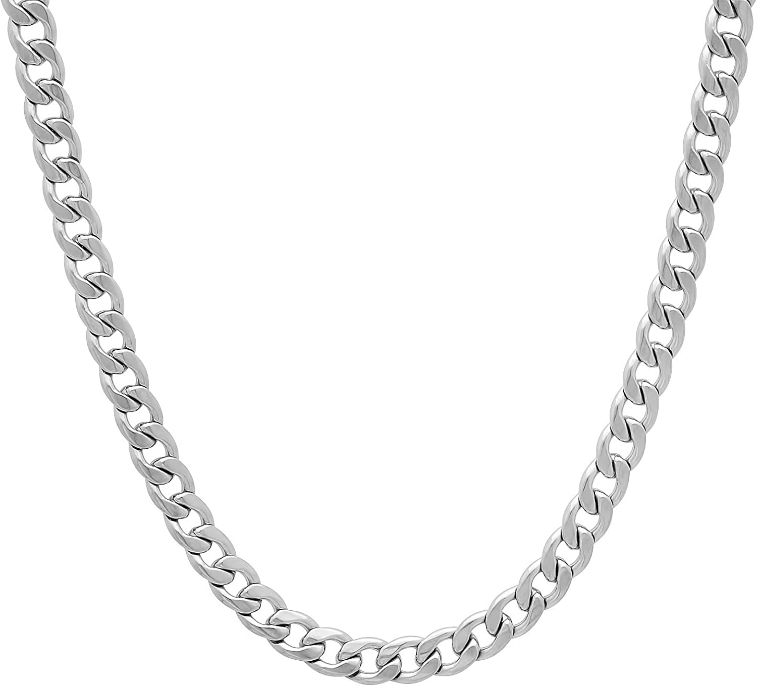 The Bling Factory 5.3mm High-Polished Stainless Steel Flat Cuban Link Curb Chain Necklace, 18'-30 + Jewelry Cloth & Pouch