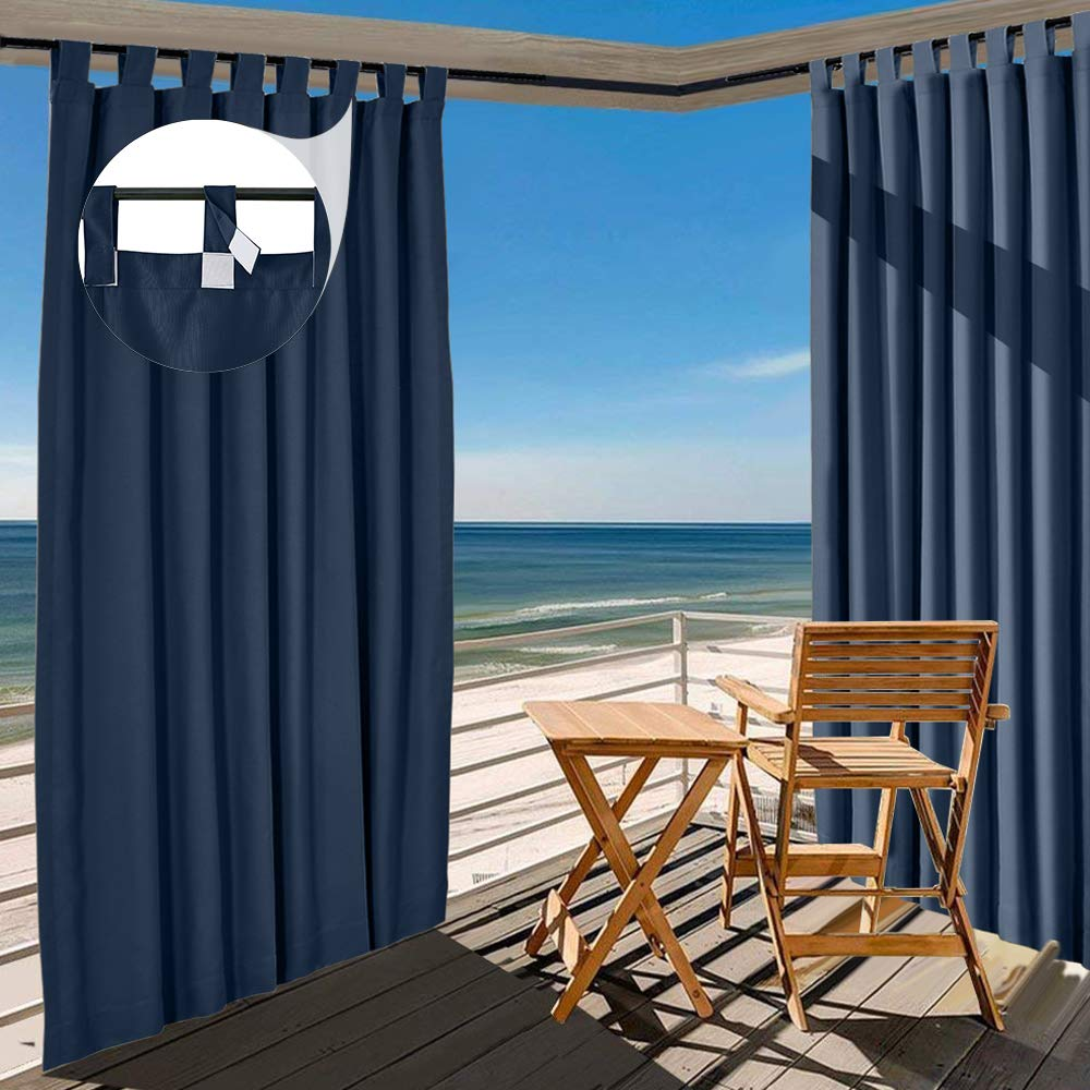 TWOPAGES Navy Blue Outdoor Curtain Waterproof Tab Top Drape 84 W x 96 L Inch, Outdoor Curtains for Patio Covered Patio Gazebo Dock Beach Home (1 Panel)