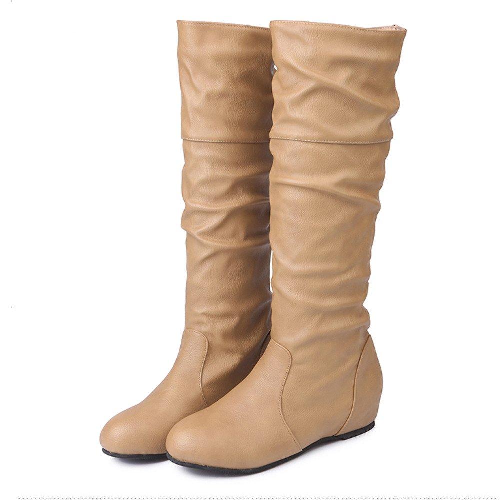 ZARLLE Zapatos De Mujer Botas De Mujer Botines Mujer Invierno OtoñO Negro Plano Pierna Alta Ante Casual Largo Alto Botas De Color SóLido Plana Altas Botas ...