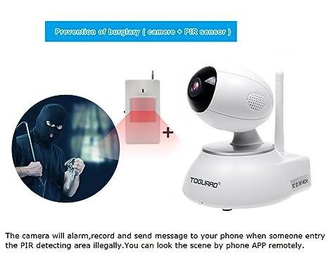 toguard todo en uno WiFi Smart HD IP cámara inalámbrica Vigilancia de Seguridad para el hogar alarma sistema DIY Kit con Sensor de Puerta + PIR Sensor de ...