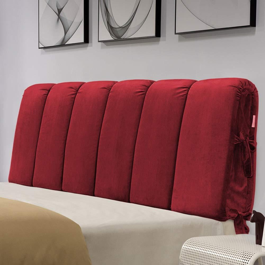 LIANGLIANG クッションベッドの背もたれベッドルームベッドサイドカバーソフトケースダブル人物エクストララージベッド背もたれクッション洗える布、6色、7サイズ (色 : Red, サイズ さいず : 180x60x8cm) 180x60x8cm Red B07KSBF3VX