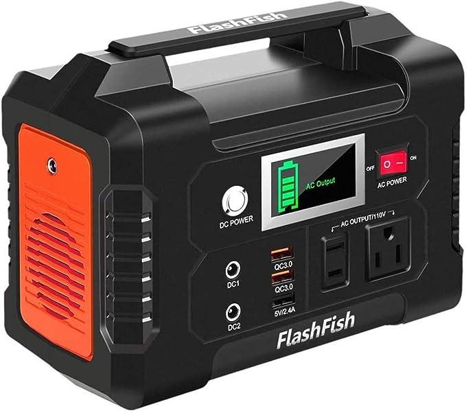 200W Portable Power Station, FlashFish 40800mAh Solar Generator for CPAP Outdoor Advanture Load Trip Camping Emergency.