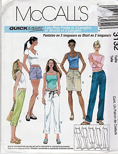 McCall's 3132 ©2001 Misses' Low Rise Pants in Three Lengths; Size B 8-10-12