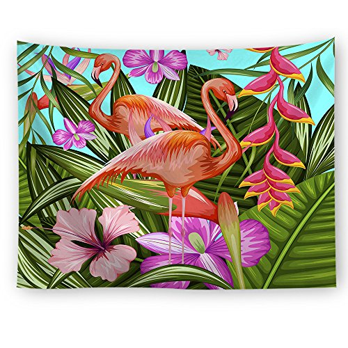 SOFTBATFY Flamingo Decor Collection, Illustration of Flamingo with Tropical Garden Flower Plant Print Bedroom Living Room Dorm Wall Hanging Tapestry (L, Flamingo (Flamingo Wall Hanging)