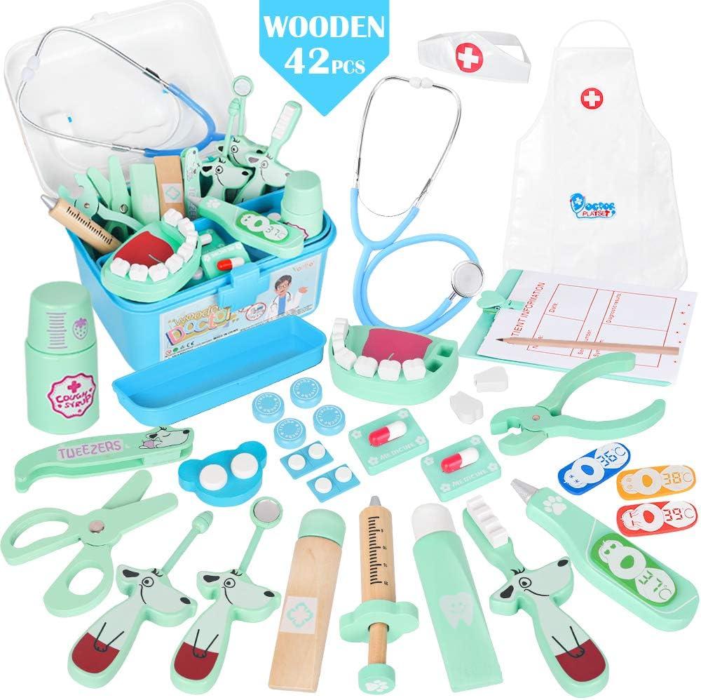 Vanplay Madera Maleta Médica Juguete Doctora Estetoscopio Juego Herramienta de Dentista Azul para Niños, 42PCS