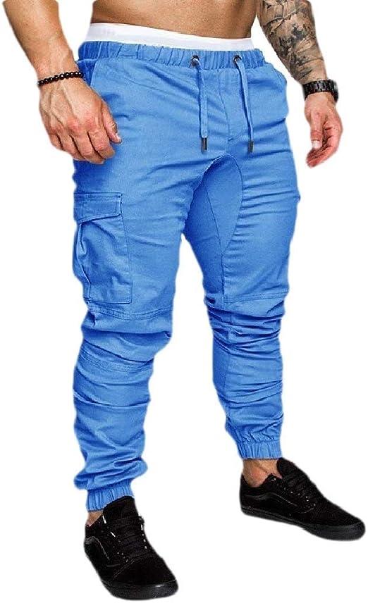Qiangjinjiu メンズスキニーマルチポケットルーズフィットテーパードソリッドジョガーパンツ White US L=China XL