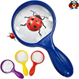 Kids Magnifying Glass - Jumbo Size - Childrens Magnifying Glasses are Great for Hunting Minibeasts Bugs and Studying Insects (Assorted Colours) 4 PACK
