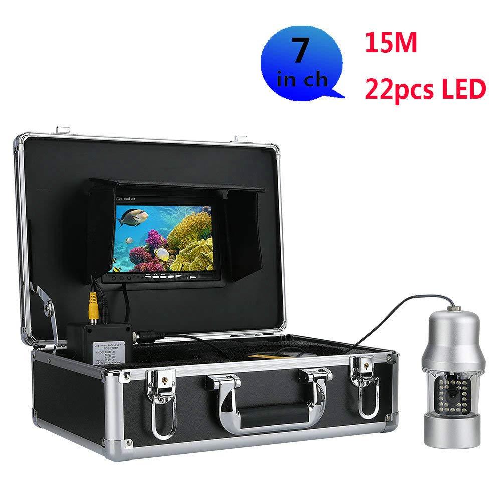 WANGYONGQI 15m プロフェッショナル 水中 釣り ビデオ カメラ 魚 ファインダー 7インチ カラースクリーン 防水 22LED 360度回転カメラ   B07MBLT5T7