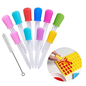 Hsxfl Liquid Droppers for Kids,Silicone and Plastic Pipettes with Bulb Tip-5 ML Eye Dropper for Candy Molds Gelatin Maker & Gummy Bear Mold- Oils Science,10 PCS