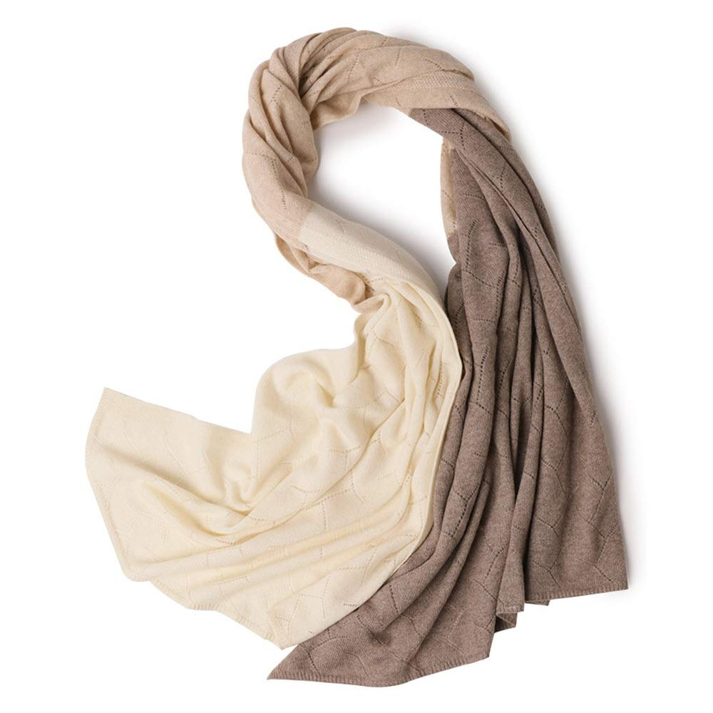 Brown Scarf Printed Knit Solid color Warm Ladies Wild Long Warm Thick Scarf Size 188  72cm (color   Brown)