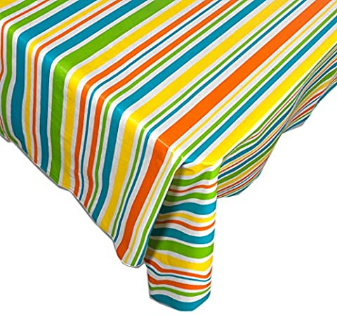 Sunshine Stripe Contemporary Print Indoor/Outdoor Vinyl Flannel Backed Tablecloth - 52 x 70 Oblong - Shine Flannel