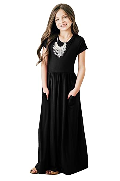 8249bbab1a Foshow Girls Short Sleeve Maxi Dress Empire Waist Plain Pleated Swing  Dresses with Pockets,Black