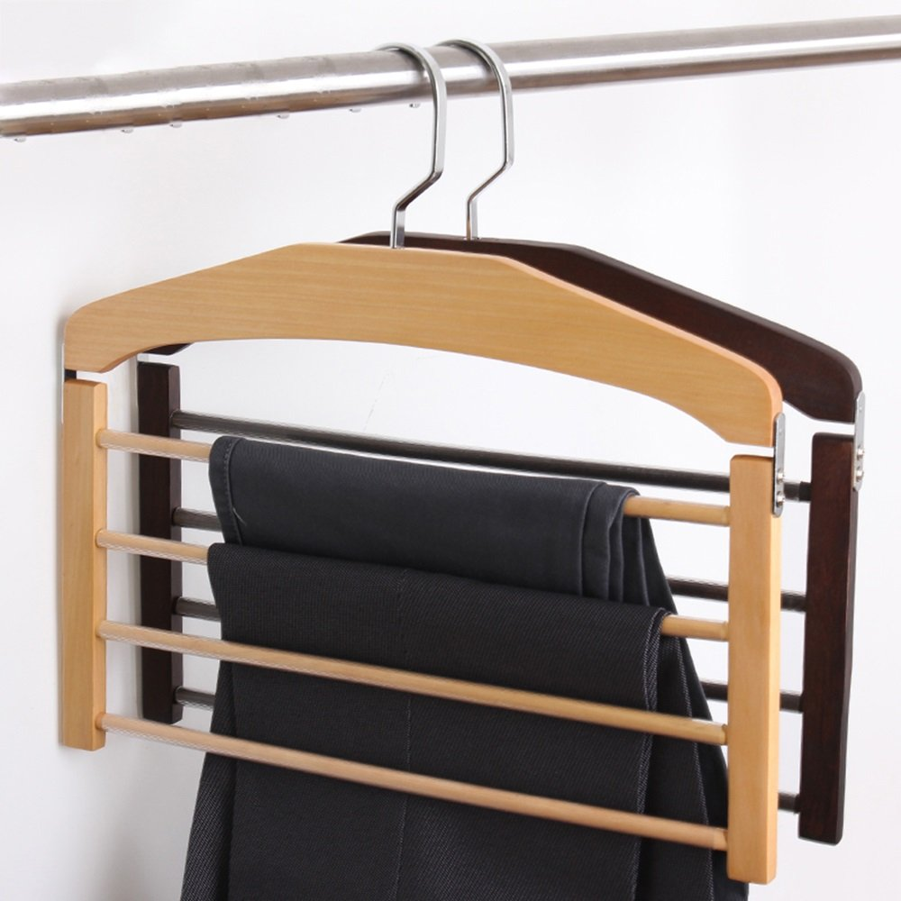 Drying clothes rack Wood pants racks/multi-layer hanger/home, multi-functional clothes hanger, simple and durable (Color : Brown) by Drying clothes rack (Image #3)