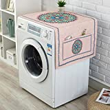 LANGUGU Fridge Dust Cover Kitchen Decor, Universal Sunscreen Cover with Storage Bag for Refrigerator and Washing Machine,Pink Hippie Boho Bohemian GeometricDecorations Meditation Decor,21'' X 55''