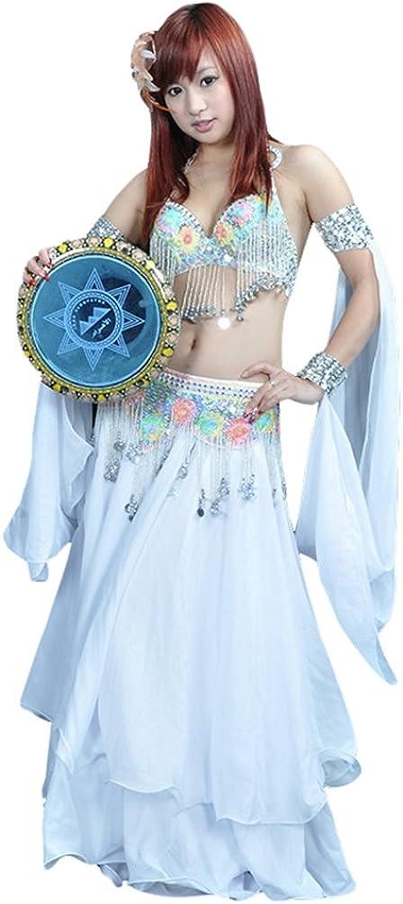 YuanDian Mujer Rendimiento De Danza Del Vientre Anillo Doble Mangas Lentejuelas Pulseras Accesorios Tribal Oriental Arabian Dance Mangas (Sin Faldas Y Sujetadores)