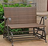 Double Rocking Glider Bench seats 2, chair is made from resin wicker with steel frame . Elegant Antique brown / black color. Great outdoor for garden, porch, yard, patio or outside living area / space