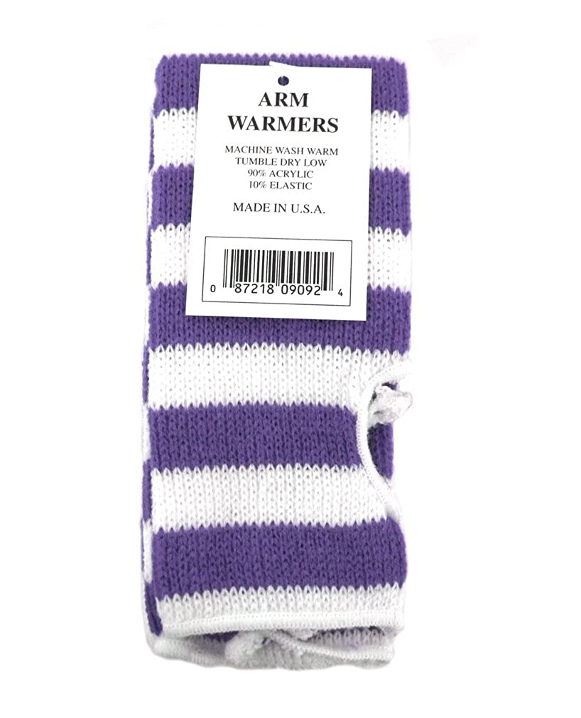 Acrylic Knit Arm Warmers Made in USA Lavender /& White Stripe