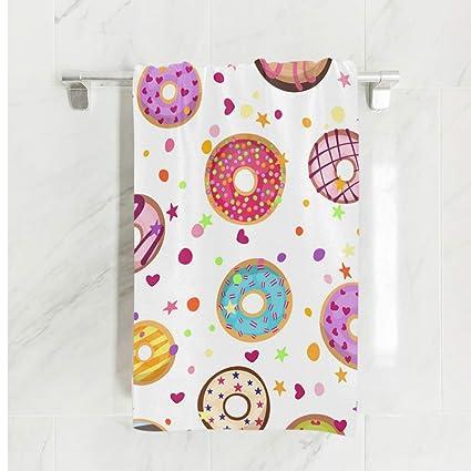 Ahomy Toalla de baño de algodón Absorbente y Colorido con Forma de Dona, para Hombres
