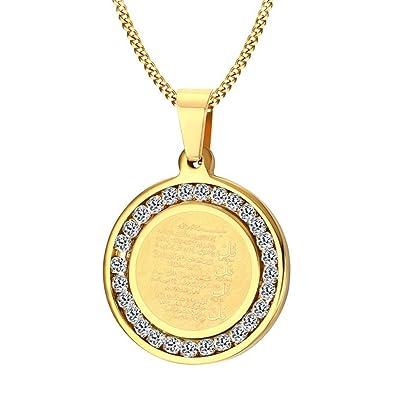 Amazon.com  Onefeart Gold Plated Pendant Necklace for Men White ... e982e909460