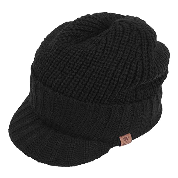 Original One Sports Winter Knit Visor Billed Beanie Hat with Brim Fleece  Lined Cap for Men 8f27d5d15