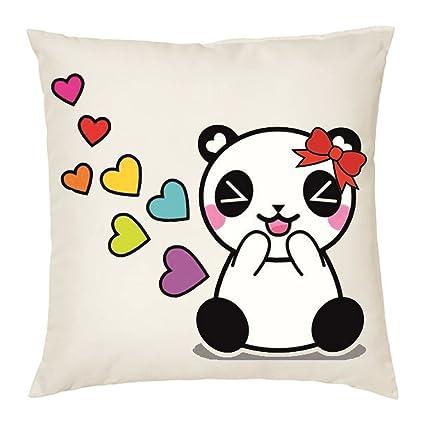 Cuscino 40 X 40 Disegno Panda Con Fiocco Rosso Cuori Colorati Idea