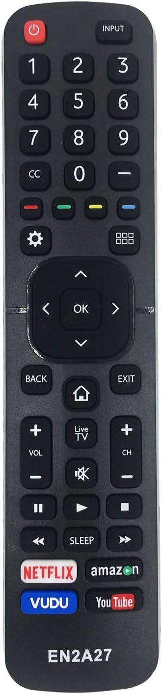 MYHGRC EN2A27 - Mando a Distancia de Repuesto para televisor Hisense LCD LED HD Smart TV, no Requiere configuración de Mando a Distancia de TV Hisense, con Botones Netflix, Vudu, Amazon y