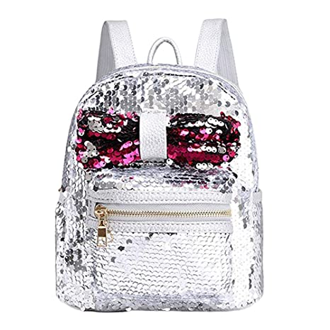 Amazon.com | Sequin Backpack Glittering Shoulder Crossbody Bag for Teenager Girls Shiny Travel Schoolbag -Silver | Kids Backpacks