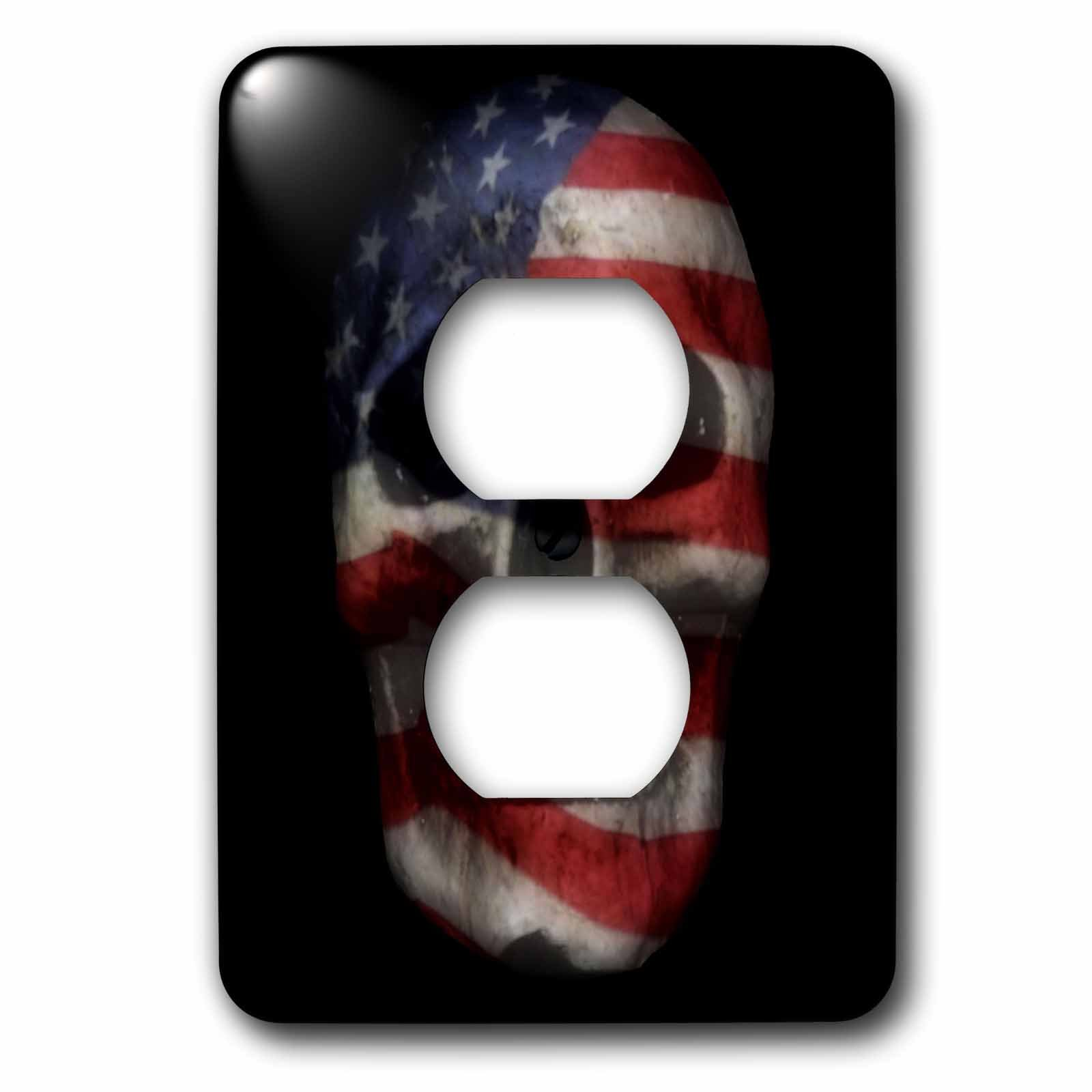 3dRose WhiteOaks Photography and Artwork - Skulls - Flag on Skull is an art piece I did of skulls and overlaying a flag - Light Switch Covers - 2 plug outlet cover (lsp_265362_6)