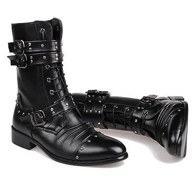 DHFUD Bottes de Bottes pour Hommes Britanniques Bottes Militaires Bottes de Martin pour Chaussures Chaussures pour Hommes de Printemps,Black-37