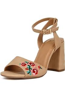 337765926ca Hadari Women s Embroidered Floral Ankle Strap Heel Sandal