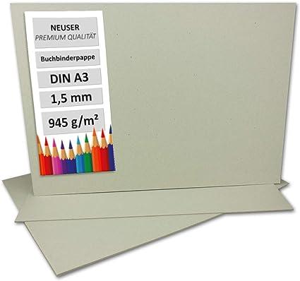 1,5 mm 1,5 mm Cartoncino per rilegatura in cartone molto resistente 10 pezzi DIN A3 Grau-Braun