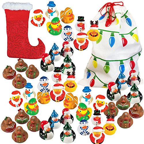 48 Count Christmas Holiday Rubber Duck Bulk Variety Pack Assortment + 1 18